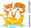 Cute cat and dog bathing time - stock photo