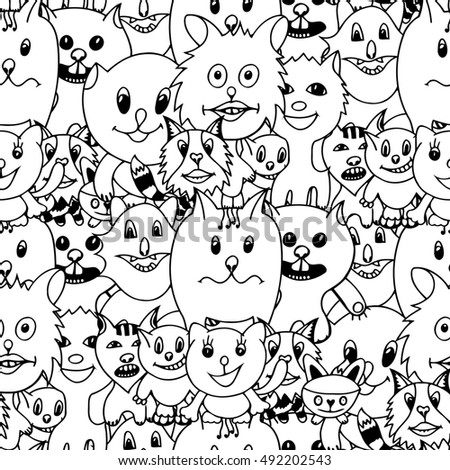 Cute cats Monochrome seamless pattern background. Art illustration of funny cat. Hand drawn art sketch cat.