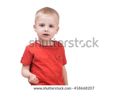 cute child boy looking into camera on white, isolated