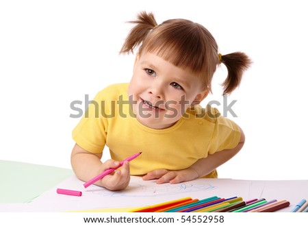 Cute child draws with color felt-tip pens, isolated over white
