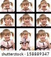 Cute child with different face expressions - stock photo