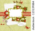 Cute Christmas scrapbook elements - stock photo