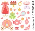 Cute collection of princess related icons - stock vector