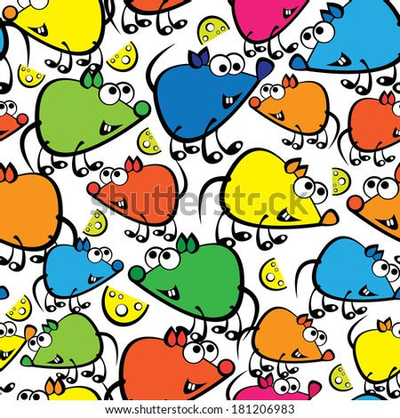 cute colorful mouse seamless pattern