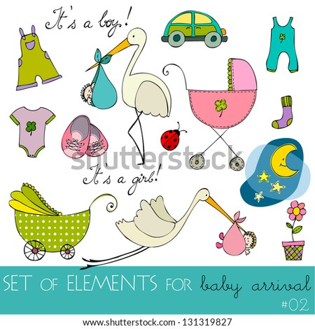 cute design elements for baby arrival card