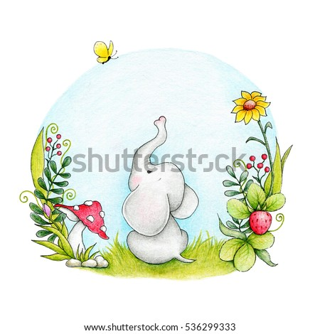 Cute elephant and butterfly