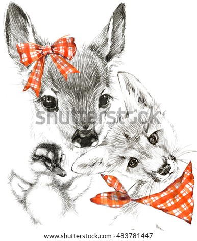 cute fawn and fox t shirt graphics duck pencil sketch deer illustration
