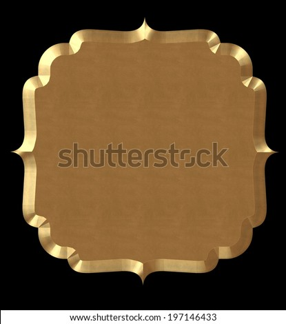 Cute frame wavy gold or tag on black isolate.