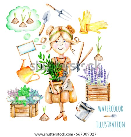 Cute Gardener Girl And Garden Tools Illustrations, Hand Painted On A White  Background