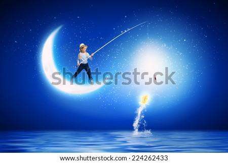 Cute girl fisherman throwing harpoon catch stock photo for Fishing rod sun and moon