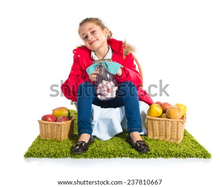 Cute girl with food