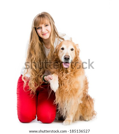 cute girl with long hair and red retriever isolated on a white background