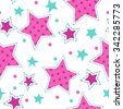 Cute girlish seamless pattern, endless square texture tile - stock vector