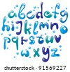 Cute glossy blue water alphabet - stock vector