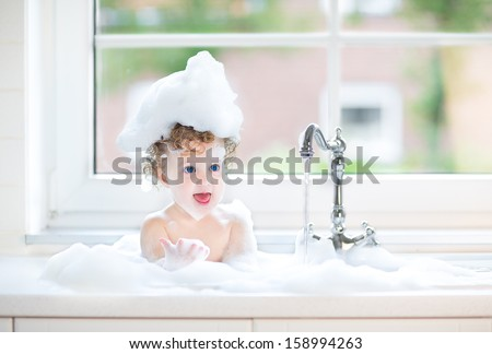 Funny Baby Girl Playing Water Foam Stock Photo 160659659
