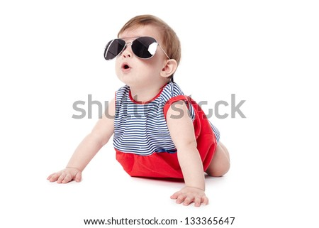 cute happy baby with sunglasses isolated on white background