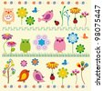 Cute kids background with flowers and birds - stock vector