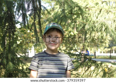 cute little boy walking in a coniferous park