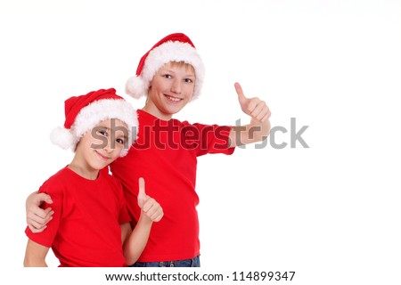 cute little brothers in santa hats on white