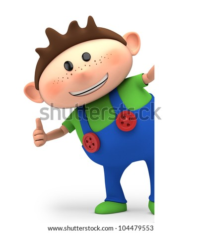 cute little cartoon boy giving thumbs up from behind blank sign - high quality 3d illustration
