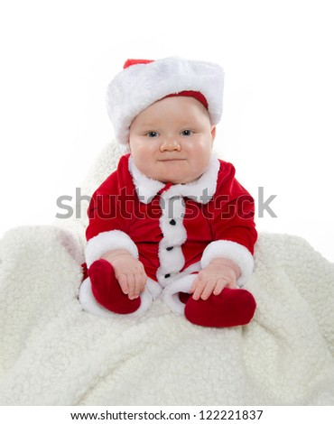 Cute 7monthold Baby Boy Red Santa Stock Photo 122221840 ...
