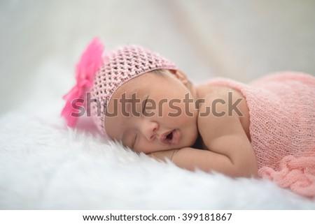 Cute Newborn Asian Girl Sleeping On Stock Photo 311982569 ...