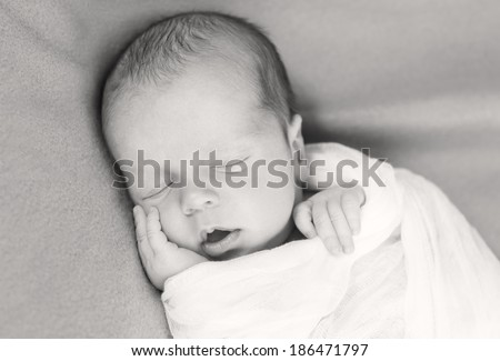 cute newborn baby sleeping ( black-white )