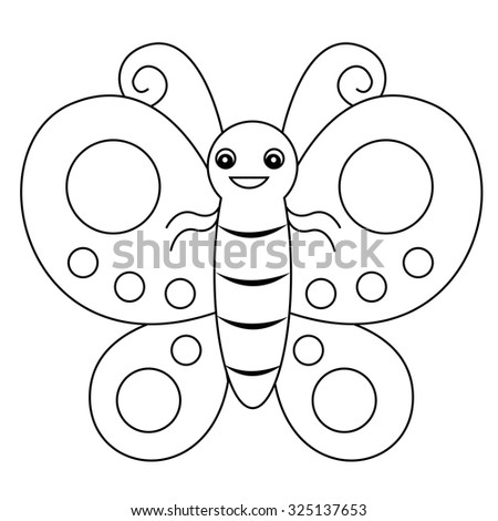 Childs drawing butterfly stock illustration 96850255 for Cute butterfly coloring pages