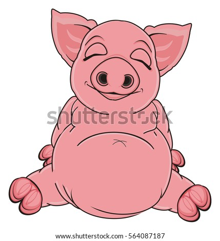Fat Pig Stock Vector 49931719 - Shutterstock Cute Cartoon Pigs With Big Eyes