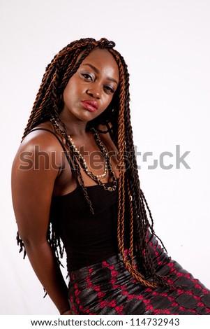 Pretty Black Woman Dreadlocks Looking Camera Stock Photo