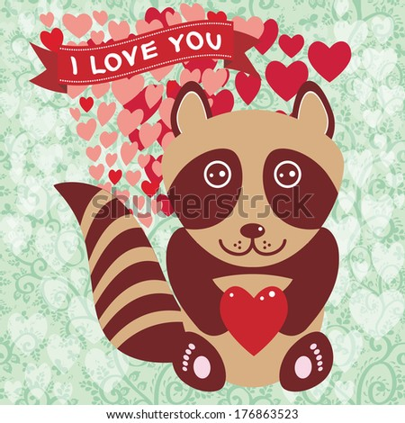 Cute raccoon with red heart. Valentine's day card, greeting card. Original invitation, greeting of Valentine's Day, wedding with text box. Romantic decorative cute illustration in cartoon style