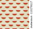 Cute seamless watermelon pattern on paper background. Fruity patterns collection - stock photo