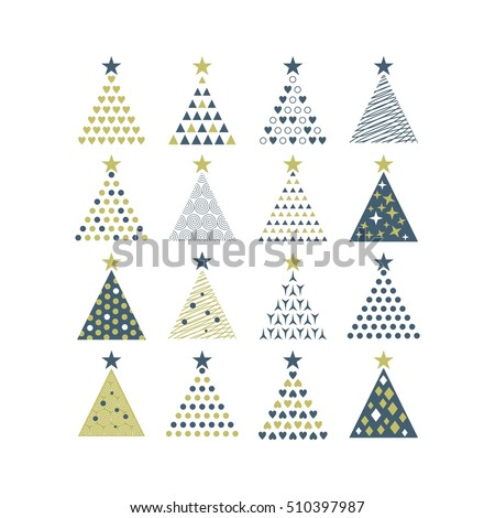 Cute set with various Christmas trees shapes and textures