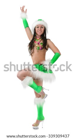 Cute sexy girl in green christmas costume isolated on white background