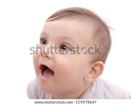 Cute smiling baby face portrait on white.