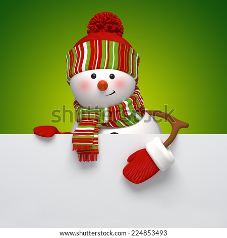cute snowman holding blank banner, holiday background, 3d cartoon character illustration