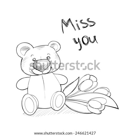 Cute teddy bear with flowers. Raster line illustration