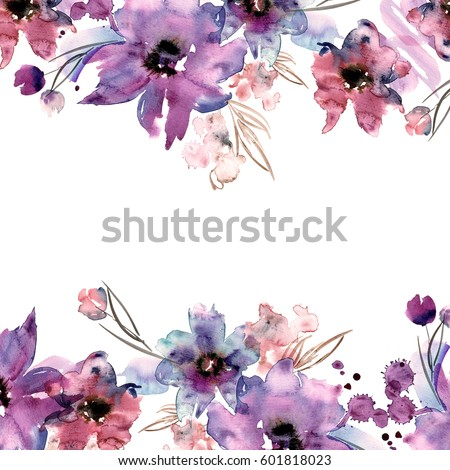 Cute Watercolor Circular Flower Frame Background Stock ...