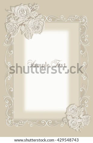 Cute wedding invitation card with vintage frame rose
