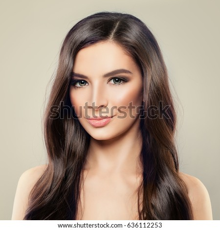 Beautiful Brunette Woman Curly Hairstyle Makeup Stock Photo ...