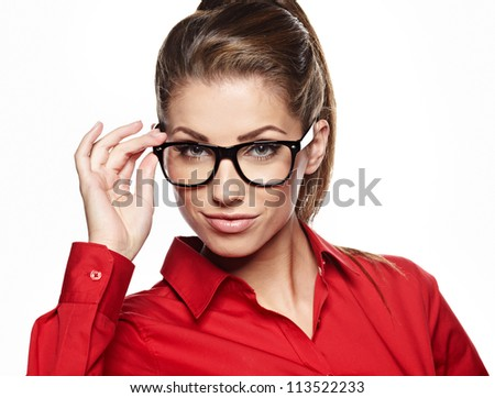Cute young business woman with glasses