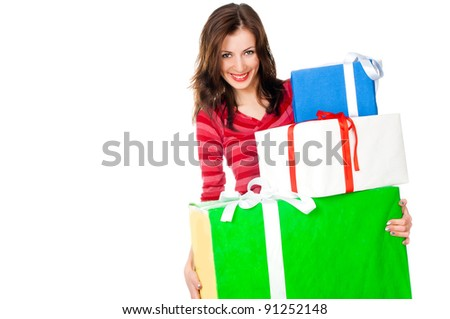 cute young girl with a gift on a white background
