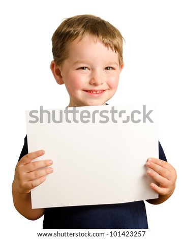 Cute young happy preschooler boy holding up blank sign with room for copy isolated on white