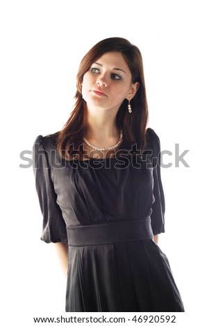 cute young pretty girl in stylish black dress