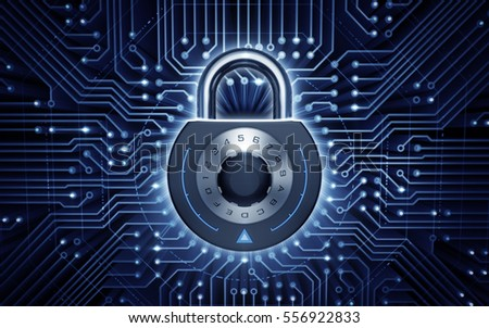 Cyber Security. Combination padlock in electronic cyberspace. 3D rendering image.