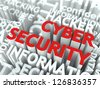 Cyber Security Concept. The Word of Red Color Located over Text of White Color. - stock vector