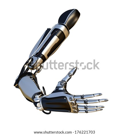 Cybernetic scene isolated on white background. Sci-fi robot arm, made of compound metallic as a part of a mechanism