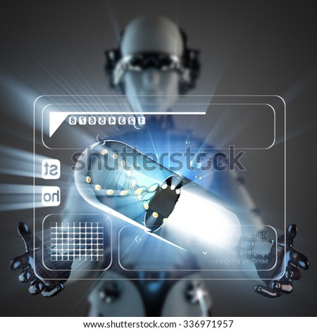 cyborg woman and capsule on hologram display