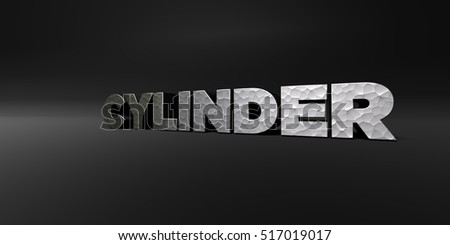 CYLINDER - hammered metal finish text on black studio - 3D rendered royalty free stock photo. This image can be used for an online website banner ad or a print postcard.
