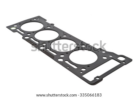 Cylinder head gasket car engine isolated. Car Gasket Set for motor, cylinder head Separated. Crankshaft oil seal engine isolated on white background Auto Spare parts. Gaskets set.